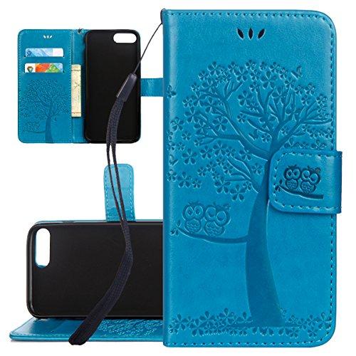 Custodia iPhone 7 Plus, ISAKEN Custodia iPhone 7 Plus, iPhone 7 Plus Flip Cover con Strap, Elegante borsa Albero Design in Sintetica Ecopelle Sbalzato PU Pelle Protettiva Portafoglio Case Cover per Ap Gatto: blu