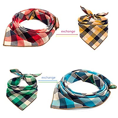Pet Heroic 2Pcs-4Styles Pet Dog Cat Bandana Plaid Reversible Square Dog Scarf Dog Kerchief Neckerchief, Suitable for Medium Large Pet Dogs Cats from NingBo Pet Heroic supply co.,ltd