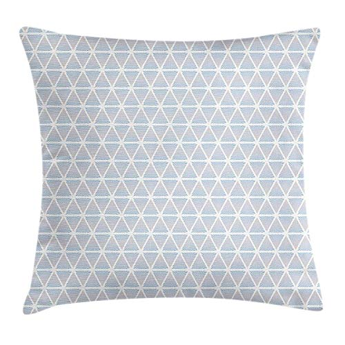 JIEKEIO Blue Throw Pillow Cushion Cover, Geometric Forms Triangles Diagonal White Lines Artful Classic Motif Design, Decorative Square Accent Pillow Case, 18 X 18 Inches, Pale Blue and White -
