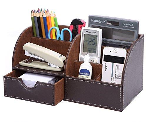 Cosanter Tisch-Organizer Schreibtisch Organizer mit 7 Fächern inkl Speicherabteil Multifunktionale Kunstleder Schreibtisch Organisator, Braun