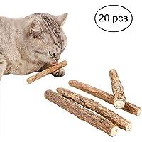 FineInno 20 Stück Katzenminze Sticks Cat Catnip Sticks Matatabi Silvervine Sticks katnip Katzenspielzeug Minze Kausticks Kaustäbchen Holz Helfen Spielerisch bei Zahnstein,Mundgeruch & Zahnpflege