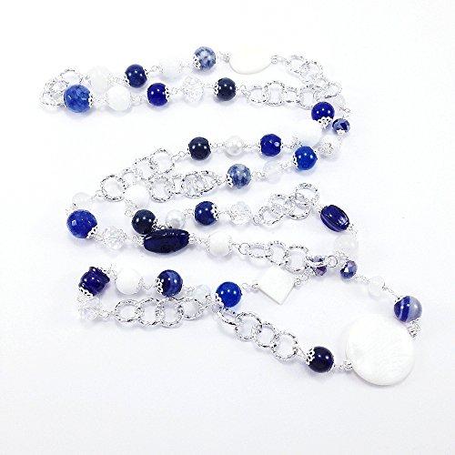 Collana lunga blu e bianca con pietre dure, maxi collana bianca e blu con catena in alluminio e pietre dure