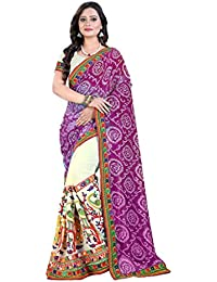 Riva Enterprise Women's S Half & Half Embroidred Bandhani Saree (Riva_191)