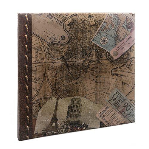 Kenro - Álbum de Fotos con Mapa del Mundo Antiguo, Autoadhesivo, 40 Páginas, 33,5 x 32,5 cm