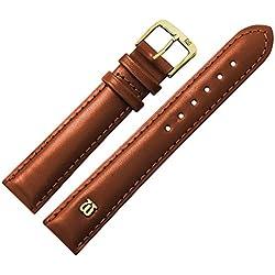 Uhrenarmband 18mm Leder glatt braun mit Naht, Bombage - Ersatzarmband aus Rindsleder - leichte Polsterung, glatte Oberfläche - Marburger Uhrenarmbänder seit 1945 - braun / gold
