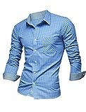 Allegra K sourcingmap Camisa Para Hombre, Cuello de Punta, Manga Larga, Diseño a Cuadros Azul Azul Celeste