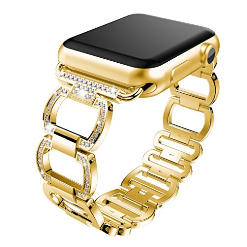 KanLin Genuine Stainless Steel Smart Watch Band For Apple Watch Series 3 38mm (Gold)