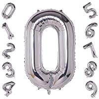 40 Inch Large Silver Number 0-9 Balloons,Foil Helium Digital Balloons for Birthday Anniversary Party Festival Decorations