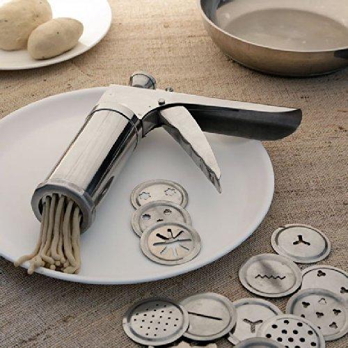 SIDDHMURTI Kitchen Press With Stainless Steel Jalis, 15 Piece, Muruku Gripper Farsan Sev Maker Hand Press Pasta Maker