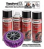 TechniQ, Kit di Vernice per Cerchi in Lega da 400 ml, 3 bombolette + Rivestimento Trasparente Lucido + mascherine per Cerchi in Lega x 4