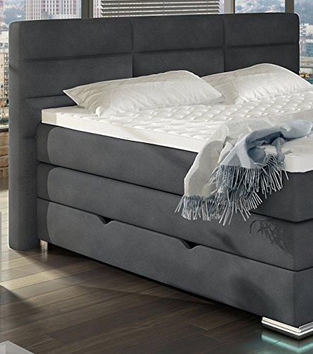XXL ROMA Boxspringbett mit Bettkasten Designer Boxspring Bett LED DESIGN GRAU STOFF Rechteck Design (Design Grau Stoff, 180x200cm) -