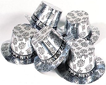 TOP HAT NEW YEAR PRINT SILVER FOR FANCY DRESS (Hats Top Silver)