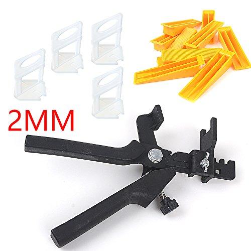 ebuybox® 2mm Fliesen Nivelliersystem Starter Basis Set 100st Zuglaschen 100st Keile und 1 Zange Verlegehilfe Montagehilfe Verlegen Werkzeug