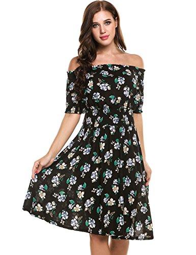 Beyove Damen Schulterfrei Kleider Elastische Taille Kleid Strandkleid Midikleid Partykleider mit Blumen Schwarz