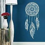 Modeganqingg Sticker Mural Plume Nuit Symbole Autocollant Mural Maison Décoration l'Inde Mandala Bohème Conception Murale Murale Blanc 42x98cm