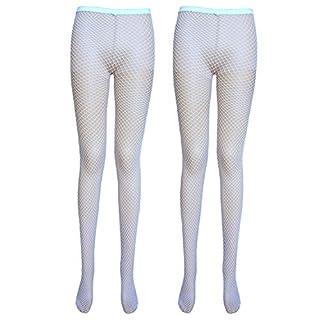 Damen Netzstrumpfhose (Medium net, 2 Paar Weiß)