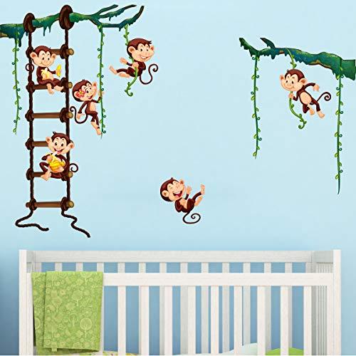 Stickers adhésifs Enfants | Sticker Autocollant singes dans la jungle - Décoration murale chambre enfants | 60 x 70 cm