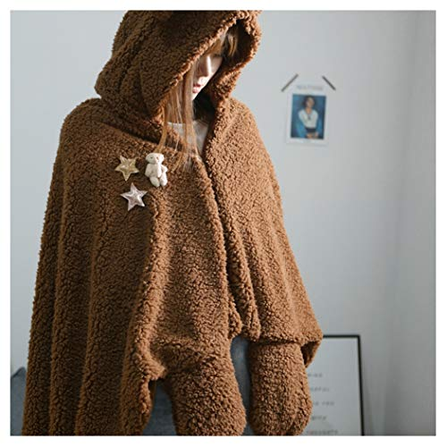 Hooded Kostüm Brown Robe - Tragbare Fleecedecke Mit Kapuze Mit Ärmeln Bär Kostüm Für Frauen/Super Warme Decke Werfen Robe Fleece Außen Und Flanell Innen,Braun