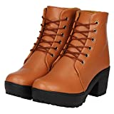 Fashimo Beautiful Leather Look Ankle Lenght Boot for women.PN1-tan-38