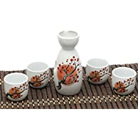 ankoow giapponese Sake Set con 4 tazze in porcellana dipinto a
