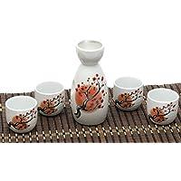 ankoow giapponese Sake Set con 4tazze in porcellana dipinto a mano Carthamus tinctorius stile ceramica tradizionale in ceramica artigianato vino Cup