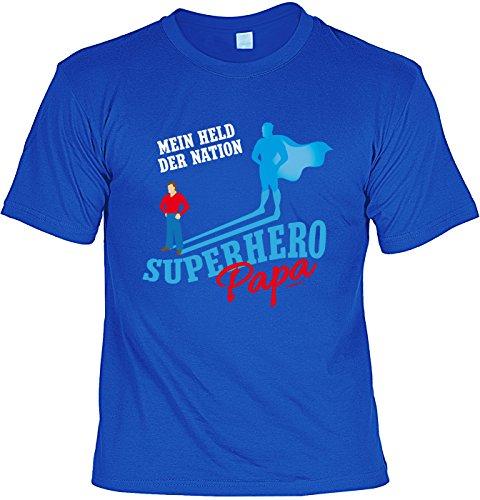 Familien/Papa/Sprüche/Spaß-Shirt/Fun-Shirt: Mein Held der Nation Superhero Papa tolles Geschenk/Geburtstag/Vatertag Royalblau