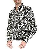 Chenaski 70er Jahre Retro Partyhemd Schwarz Cremeweiß Hippie Mode S