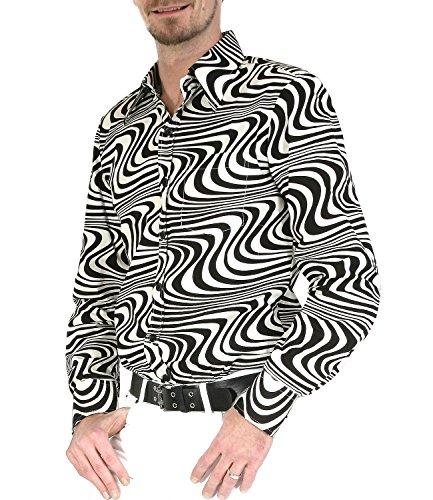 Chenaski 70er Jahre Retro Partyhemd schwarz cremeweiß Hippie Mode ()