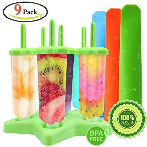 GeMoor Eisformen Set BPA Frei für Kinder und Erwachsene- 6 Stück Eis am Stiel und 3 Eislutscher Formen (Grün)