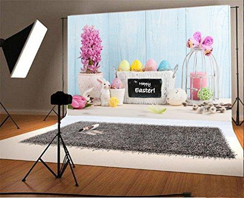 YongFoto 3x2m Foto Hintergrund Ostereier Korb frische Blumen Vogelkäfig Kerze Kaninchen Streifen Holz Plank Schmetterling Fotografie Hintergrund Fotoshooting Portrait Party Kinder Hochzeit Fotostudio