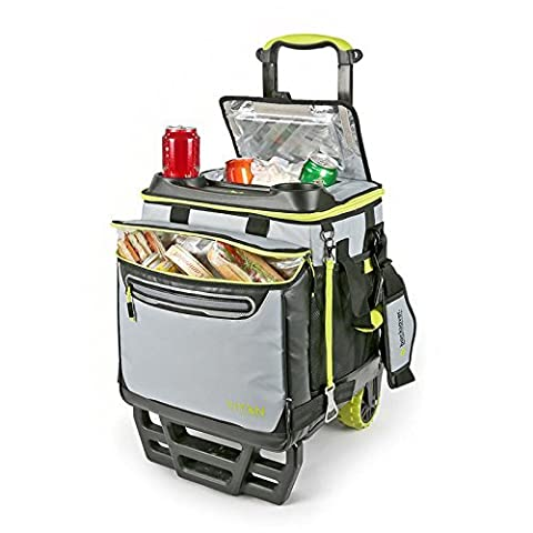 Titan 22.5 Litre (23.7 US Quart) 60 Can High Performance Rolling Cooler with Over-sized Wheels All Terrain Cart, Grey/Lime