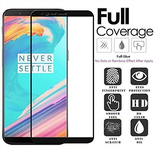 Kalgidhar eCom® OnePlus 5T (Edge to Edge – Full Glue), No Rainbow, No Dots, Perfect Glass Full Front Body Cover Tempered Full Glass Screen Protector Guard Black