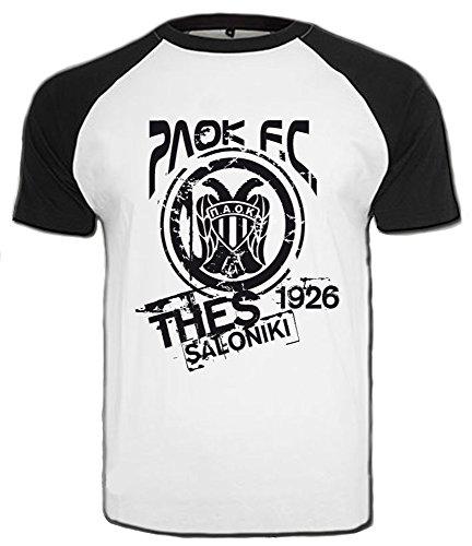 PAOK Thessaloniki T-Shirt Griechenland Hellas Saloniki Shirt Greece (XXL, Weiß/Schwarz)