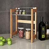 Jago Bambus Gewürzregal Gewürzboard Küchenregal Gewürze Ablage mit 2 oder
