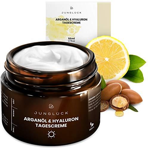 Junglück vegane Tagescreme in Braunglas - Feuchtigkeitscreme mit Arganöl und Hyaluronsäure auf Bio Aloe Vera Basis - Anti-Aging für...