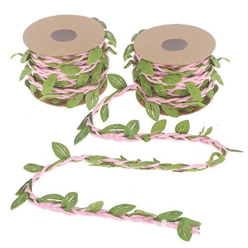 Soleebee 5 M x 2 Rollen Künstliche Reben Blätter Geschenk Luftschlangen Dekoration perfekt verzierten Reben für DIY Handwerk Party Hochzeit Hausgarten Dekoration (Rosa) - Luftschlangen Grüne