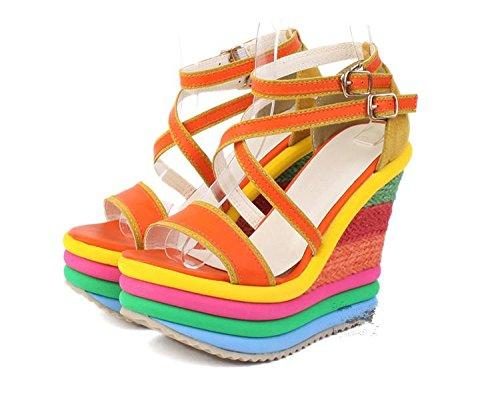 LvYuan Sandales d'été pour femme / Bureau & Carrière / Plateforme sexy / étanche / talon compensé / couleur mixte / boucle / style national de Bohême Orange