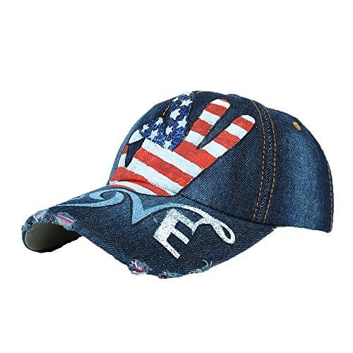 Unisex Classic Vintage USA American Flag Printing Washed Denim Baseball Cap Adjustable Low Profile Dad Hat