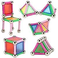 Alian Bloques de Construcción Magnéticos Set Arco Iris con 50 Piezas,Juguetes Creativos y Educativos Regalo educativo del juguete del muchacho y de la muchacha de los niños del juguete,