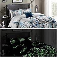 Urban Magic ® 200 TC Microfiber Double Glow in The Dark Bedsheet (Pack of 1, Blue)