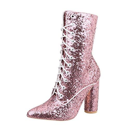 Ital-Design Schnürstiefeletten Damen-Schuhe Schnürstiefeletten Pump High Heels Schnürsenkel Stiefeletten Pink, Gr 36, Jr-002-