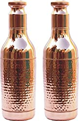 Set of 2 Copper Yoga Water Bottle,Hammered Copper Champagne Bottle,2400ML -Handmade,Joint Free & Leak Proof for Ayurvedic Health Benefits.