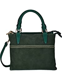 Fiona Trends Green PU Zipper Satchel