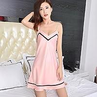 Pyjamas Rock Sexy Lady Ice Silk V-Ausschnitt Backless Nachthemd Frühling und Sommer Striped Slim GAOLILI