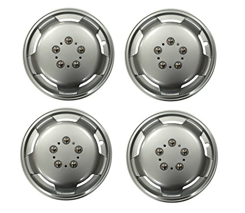 XtremeAuto® 15`` Silver, Van / LCV / LGV, Deep Dish Wheel Trim, Hub Cap Covers with Chrome Wheel Bolt Detailing, and Security Cable Ties