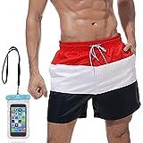 SPECOOL Pantaloncini da Bagno da Uomo Costume da Bagno Pantaloncini da Spiaggia Pantaloncini da Spiaggia Pantaloncini da Spiaggia Tasca Impermeabile per Cellulare (Stripe, XL(EU)-Etichetta XXL)