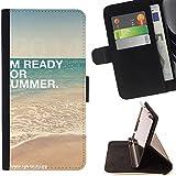 "FJCases ""I'm Ready For Summer"" Verano Frase Carcasa Funda Billetera con Ranuras para Tarjetas y Soporte Plegable para Microsoft Lumia 540 Dual Sim"