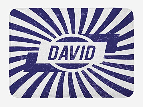 OQUYCZ David Bath Mat, Boys Birthday Theme Retro Style Graphic Letters on Grungy Navy Color Stripes, Plush Bathroom Decor Mat with Non Slip Backing, 23.6 W X 15.7 W Inches, Navy Blue and White David Womens Slip
