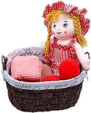 YATAI Seagrass Woven Storage Basket Linen Inner Basket Picnic Basket For Fruits, Flowers, Bread Dough Basket W