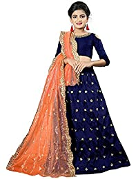 Femisha Creation Girl's Tappeta Silk Lehenga Choli (FC_Kids_N_B-Rim _Nevy Blue_ Free Size)